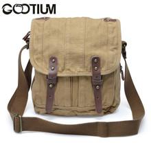 Gootium 30829KA Thick Canvas Leather Cross Body Messenger Handbag Satchel Bag,Khaki