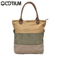 Gootium 31245CF Canvas Genuine Leather Vintage Shoulder Tote Bag,Coffee