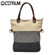 Gootium 31245WT Canvas Genuine Leather Vintage Shoulder Tote Bag,White