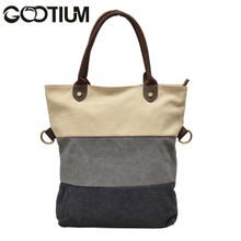 Gootium 31245WT Canvas Genuine Leather Vintage Shoulder Tote Bag,White