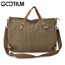 Gootium 31249AMG Canvas Genuine Leather Vintage Shoulder Bag,Army Green