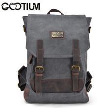 Gootium 40196GRY Canvas Genuine Leather BagPack,Grey