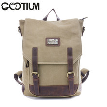 Gootium 40196KA Canvas Genuine Leather BagPack,Khaki