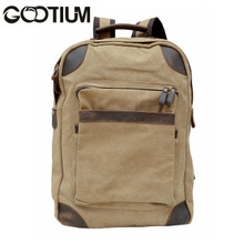 Gootium 40589KA Canvas Leather Laptop Backpack Rucksack  College Campus School bag,Khaki