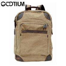 Gootium 40589KA Canvas Leather Laptop Backpack Rucksack  College Campus School bag,Khaki