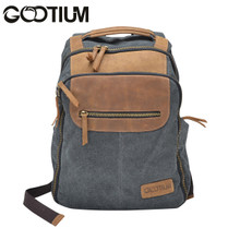Gootium 40679GRY Casual Canvas Genuine Leather laptop Backpack School Campus Bag,Grey