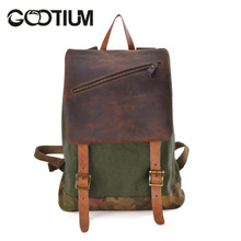 Gootium 41139AMG Canvas Genuine Leather Camouflage Decoration Backpack,Army Green