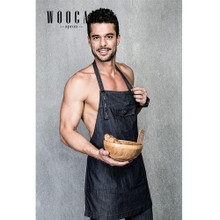 New Woocao Unisex Denim Cotton Sexy kitchen Bbq Apron With Front Pockets in Blue