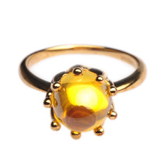 Mnemosyne Phyllis Citrine 14k Gold Plated 925 Sterling Silver Fine Jewelry Yellow Drop Pear Crystal Ring