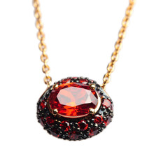 Mnemosyne Martina Ruby gold pendant necklaceGold plated 925 silver Ruby pendant Anniversary pendant