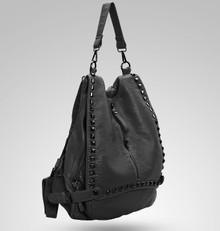 Leather stud fashion women casual backpack shoulder hobo bag