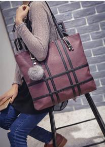 Leather women large shoulder beach handbag