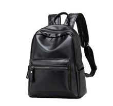 Leather classic vintage  women casual backpack