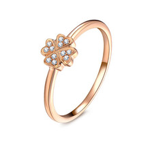 18K Rose Gold diamond Ring, clover diamond ring