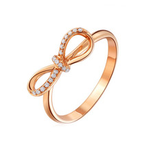 18 K ROSE GOLD DIAMOND BOW ENGAGEMENT RING, THIN DIAMOND RING BAND