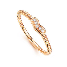 18K Gold Thin Heart Diamond ring for her, wedding diamond ring