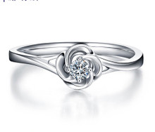 18kt Gold Rose Engagement Diamond Ring, Wedding Ring