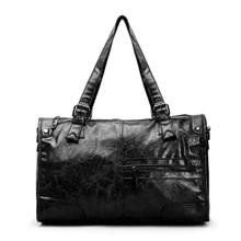 Waterproof Leather women vintage large duffle bag crossbody bag