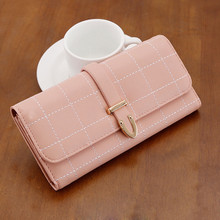 Waterproof Leather women girl folded long wallet purse