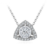 18KT Gold Round Diamond Triangle Pendant necklace custom