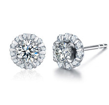 18KT Gold Halo diamond stub earrings custom earrings