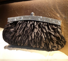 ARETHA Valvet LADY Bouffancy CLUTCH EVENING PARTY BAG PURSE BLACK