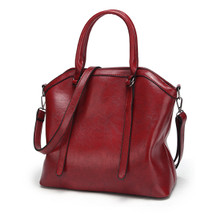 WATERPROOF LEATHER CLASSIC WOMEN CASUAL HANDBAG SHOULDER TOTE BAG Red