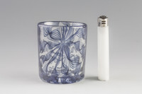 Xander D'Ambrosio - Midnight Blue Twisty Cane Flip Axis Shot Glass