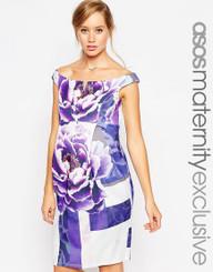ASOS Maternity Scuba Bardot Body-Conscious Dress In Oversized Floral