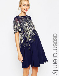ASOS Maternity Midi Skater Dress With Embellishment