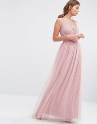 Little Mistress Embellished Plunge Front Chiffon Maxi Dress