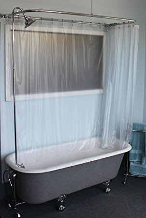 "Clawfoot Tub RX2300J-JUMBO Add-A-Shower Includes 60"" D-Shower Rod with Shower Rings & JUMBO Showerhead (RX2300J)"