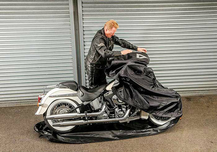 enclosed motorcycle cover installation step 3