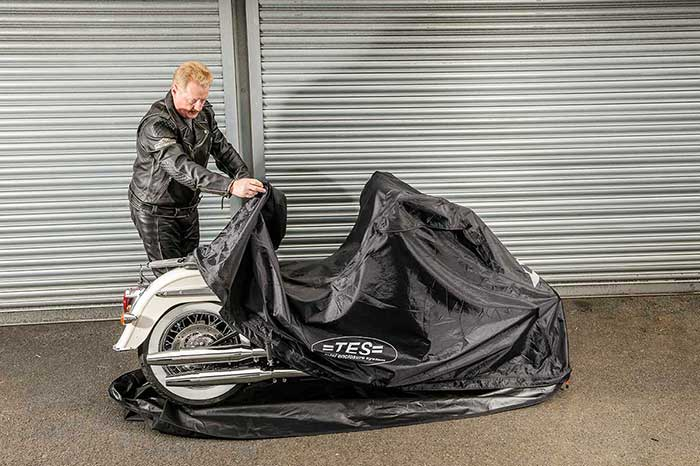 Fully enclosed motorcycle cover install step 4