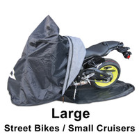 Large TES Cover for Sport bikes and smaller cruisers. Fully Enclosed Motorcycle Cover.