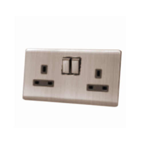 My Home Diy Champagne 13A 2 Gang Switch Socket