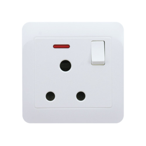 My Home Diy White 15A 1 Gang Round-Pin Socket With Neon