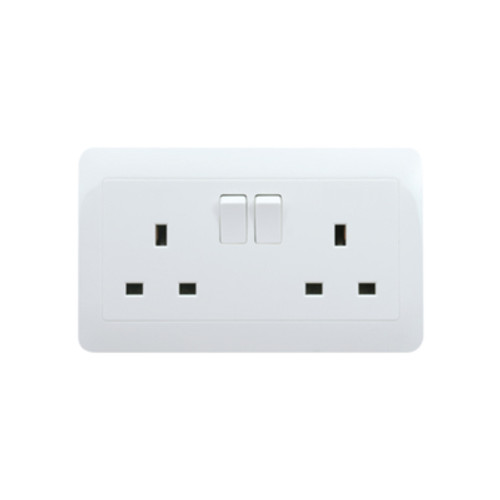 My Home Diy White 13A 2 Gang Switch Socket