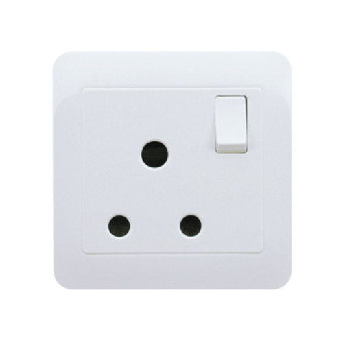 My Home Diy White 15A 1 Gang Round-Pin Socket