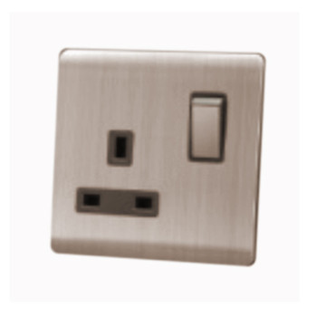 My Home Diy Champagne 13A 1 Gang Switch Socket