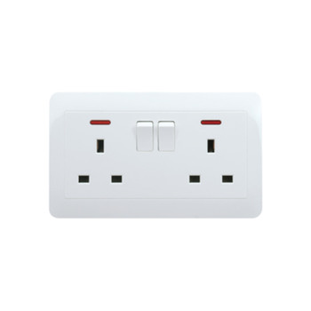My Home Diy White 13A 2 Gang Switch Socket With Neon