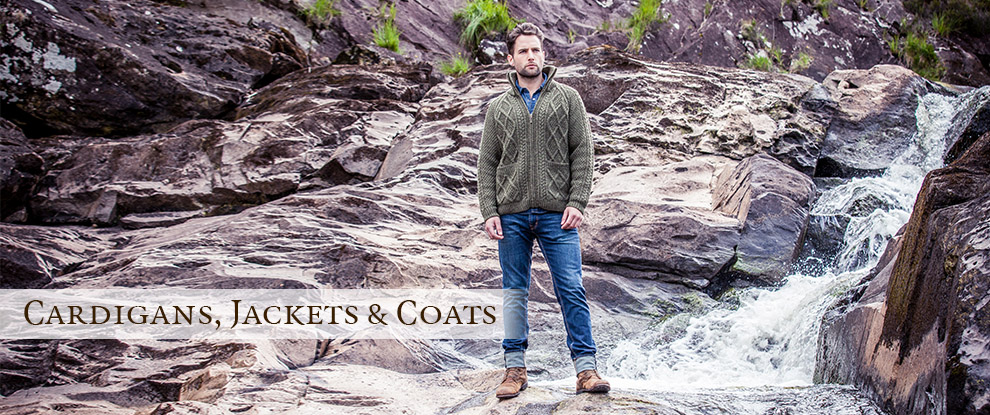 Mens Shawl Collar Cardigans, Aran Cardigans & Irish Wool Jackets