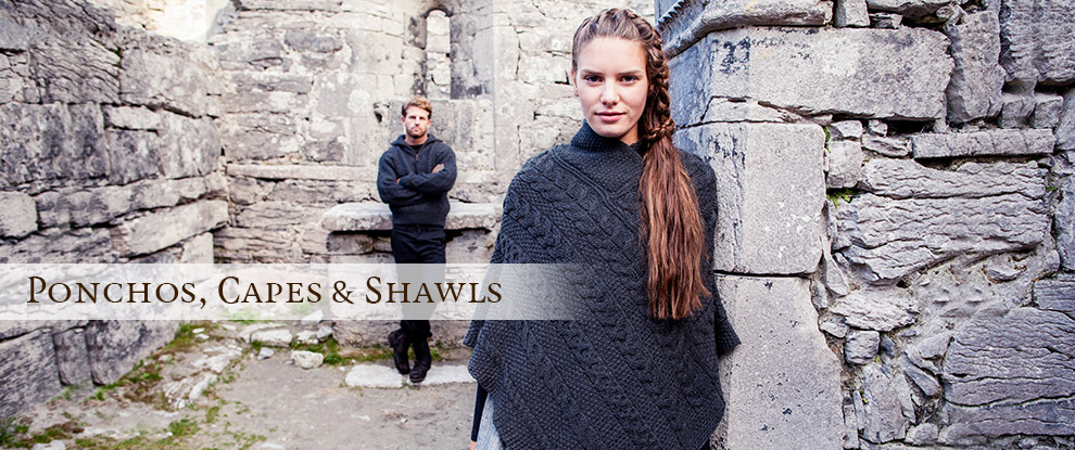 Knitted Ponchos, Wool Capes & Aran Shawls
