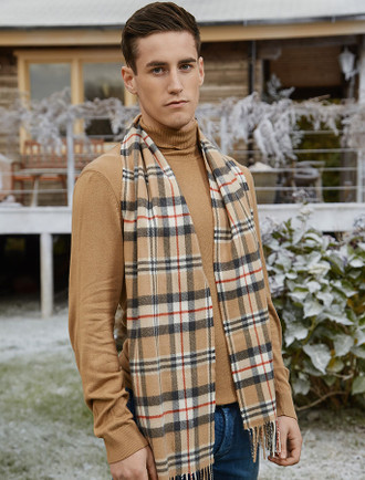 Fine Merino Plaid Scarf - Camel of Merrick