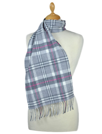 Fine Merino Plaid Scarf - Grey Pink