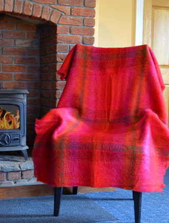 Mohair Plaid Knee Throw - Berry Cerise
