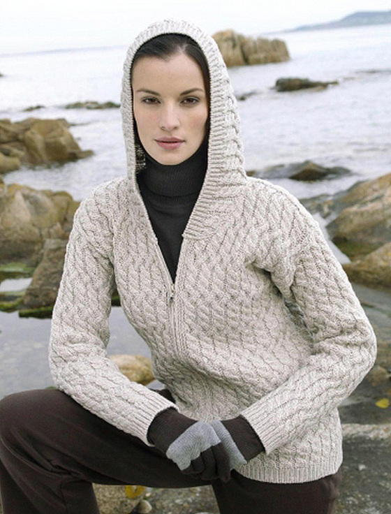 Zip Hoodie Knitting Pattern : Cable Knit Hoodie, Wool Hoodie with Zip, Wool Hoodies