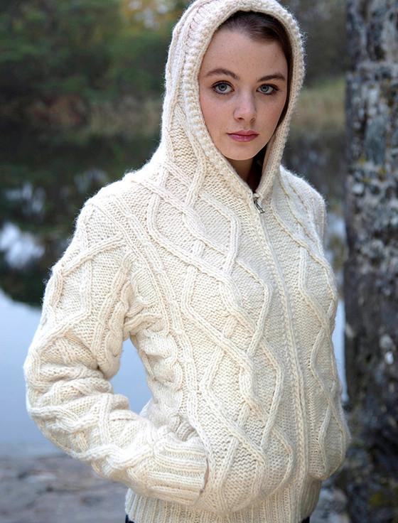 White Wool Hoodie, Aran Hooded Jacket, Cardigan with Hood