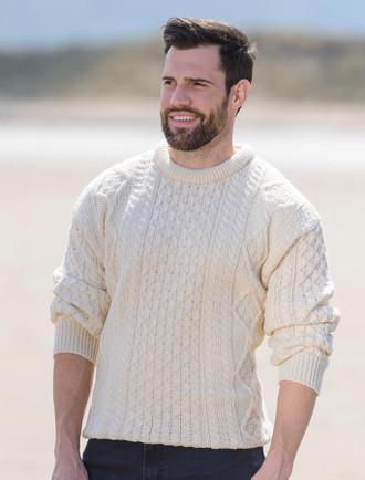 Lightweight Traditional Aran Mens Wool Sweater - White