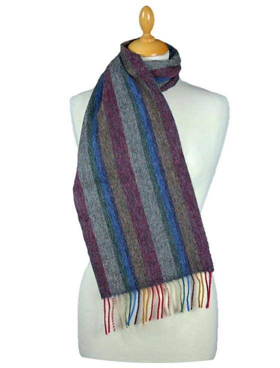 Knitting Pattern For Herringbone Scarf : Long Striped Herringbone Lambswool Scarf Aran Sweater Market